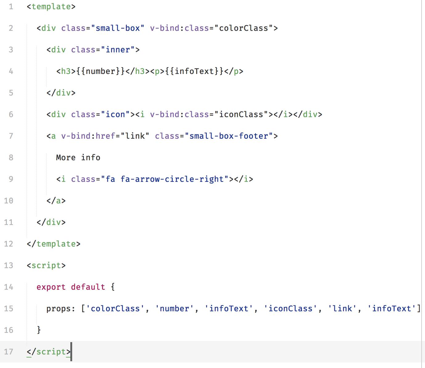 Small box component code